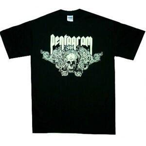 Pentagram-Skull-Shirt-M-L-XL-Doom-Heavy-Metal-T-Shirt-Official-Tshirt-New