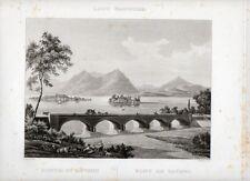 Stampa antica BAVENO sul Lago Maggiore ponte e Isole Borromee 1835 Old Print