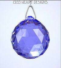 SWAROVSKI CRYSTAL BLUE VIOLET BALL in 30mm RARE COLOR PURPLE PRISM READY TO HANG