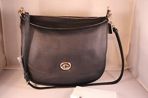 Image is loading COACH-Turnlock-Hobo-in-Pebble-Leather-Bag-36762- ef8d10bc18433