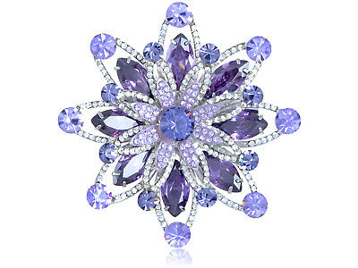 Purple Tanzanite Violet  Crystal Silver Tone Starburst Flower Brooch 121
