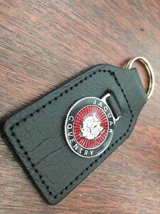 Jaguar-leather-Key-ring-Round-Design-Enamel-Infill-On-Metal-Ingot-Quality-Keyfo