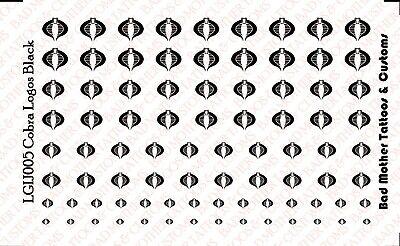 1//18 Scale Custom Waterslide Decals Cobra Logos BLACK