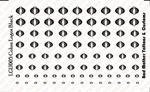 Cobra Logos BLACK 1//18 Scale Custom Waterslide Decals