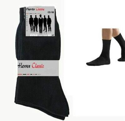 1 - 24 Paar Herren Business Freizeit Socken Schwarz 80%Baumwolle NEU!