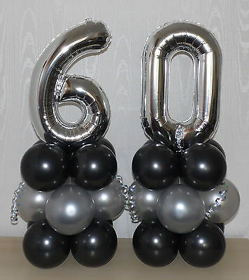 60th BIRTHDAY - AGE 60 - SILVER - FOIL BALLOON DISPLAY -TABLE CENTREPIECE-BANNER