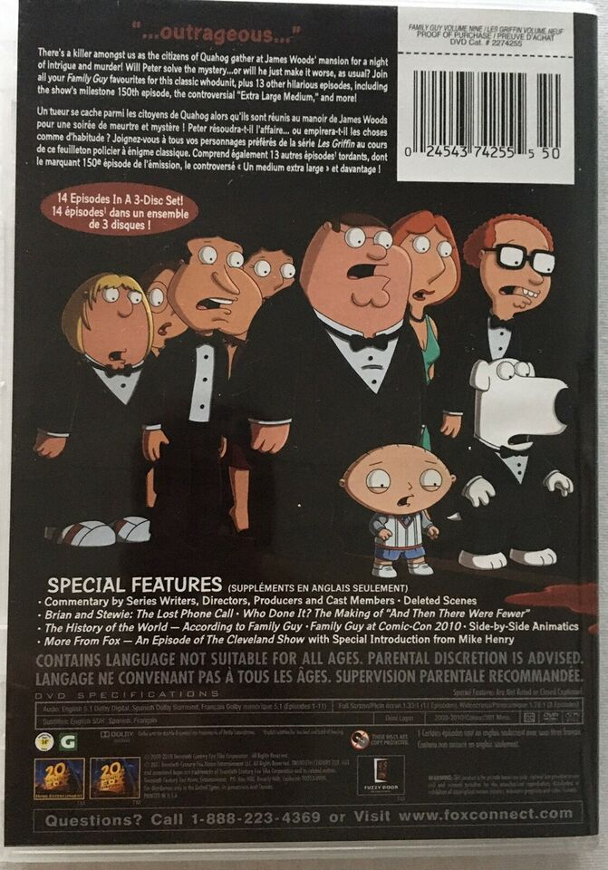 Family Guy volume 9, DVD, tegnefilm