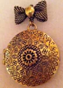 Details About Antique Gold Locket Pendant No Chain Costume Jewelry Necklace Ready
