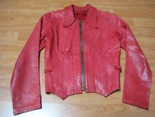 Vtg 60s 70s Red East West Musical Instruments Leather Jacket Coat Boho Hippie