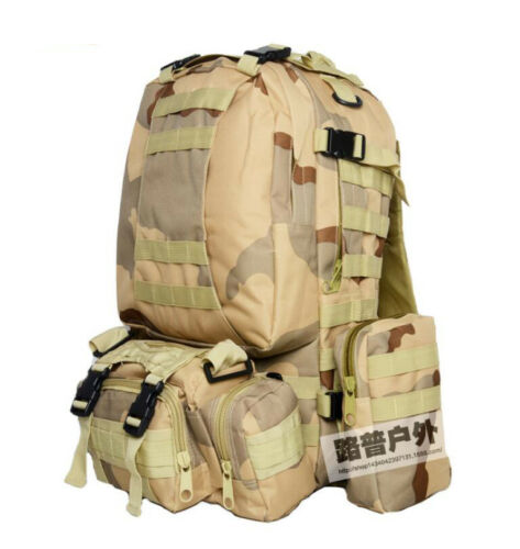 55L Outdoor Military Tactical Molle Backpack Rucksacks Camping Hiking Bags Lot