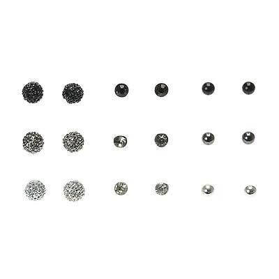 Brillante Claire's Orecchini A Perno Rotondi Nero - 9 Confezione-mostra Il Titolo Originale Vendite Di Garanzia Della Qualità