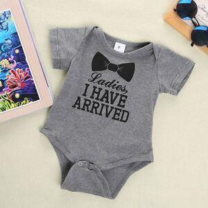 3d181ca0c1e Baby Infant Newborn Boy Girl Bowtie Quote Romper Bodysuit Playsuit ...
