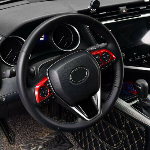 Fit For Toyota Corolla 2020 ABS Red Interior Steering Wheel Trim 2pcs