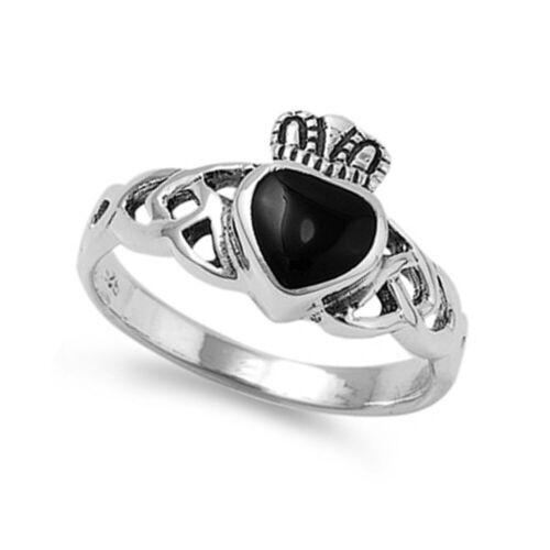 Details about  /Women 11mm Silver Heart Black Onyx Heart Celtic Claddagh Vintage Style Ring Band