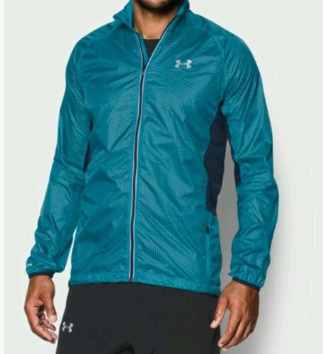 UNDER ARMOUR MENS STORM INFARED RUN PACKABLE JACKET AQUA NAVY 1267048 478 LARGE