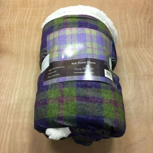 969 Country Matters Green /& Purple Tweed Patterned Throw Blanket 130 x 150cm