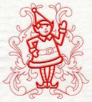 Christmas Girl Elf Holiday Doodle 8 Machine Embroidered Quilt Block (hp)