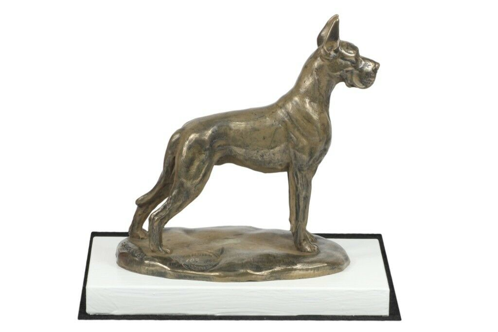 Great Dane type 2 - figurine made of Bronze on the bianca wooden base, Art Dog