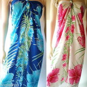 Bali Mumu Sarong Tube Dress Boho Hippy Hibiscus Frangipani Size