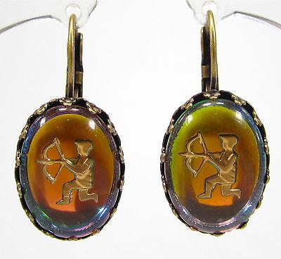 SoHo® Ohrhänger Ohrringe Sternzeichen Schütze vintage bohemia Glas oval altgold