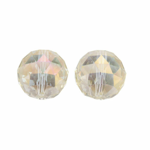 20mm 5 Faceted Glass Crystal Round Ball Loose Spacer Beads Charms Lamp Pendants#