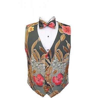 Maui Hawaiian Floral Tuxedo Vest and Bowtie