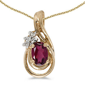 14k-Yellow-Gold-Oval-Rhodolite-Garnet-And-Diamond-Teardrop-Pendant-w-18-034-Chain