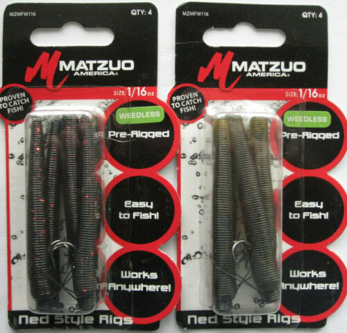2 1//16 oz 4//Pk MATZUO Weedless Ned Style Rigs - Green Pumpkin /& Black//Red