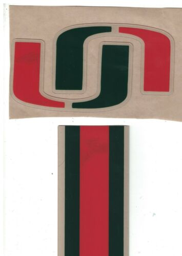Miami Hurricanes FULL SIZE FOOTBALL HELMET DECALS W//STRIPE