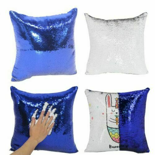 Sublimation Blank Reversible Mermaid Pillow Sequin Cover Glitter DIY Printing