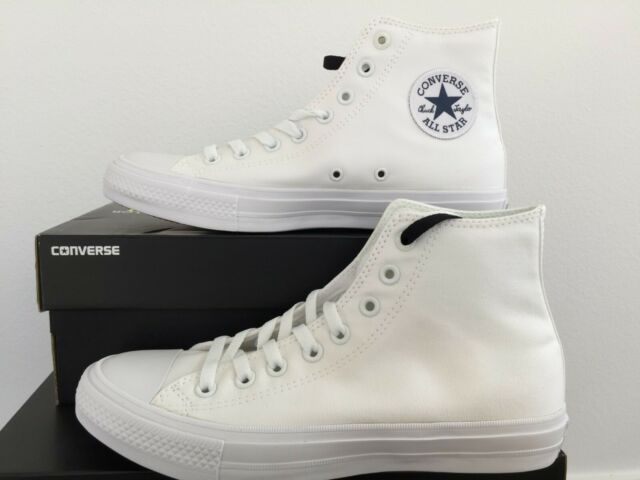 NEW Converse Chuck Taylor All Star II 2 Hi Skate Shoes Mens CTAS Triple White