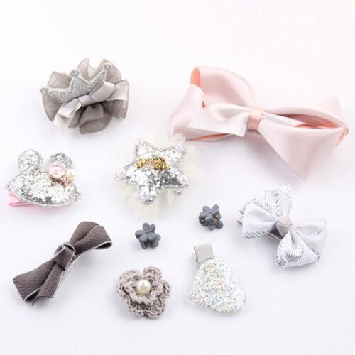 10Pcs// Set Kids Infant en épingle à Cheveux Fille Bébé Princesse Animal Motifs Pince à Cheveux Cadeaux