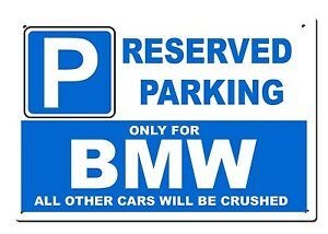 Large Metal BMW Sign Reserved Parking Only For Beamer M - Bmw parking only signs