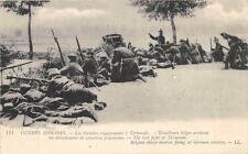 CPA GUERRE 1914 LES DERNIERS ENGAGEMENTS A TERMONDE TIRAILLEURS BELGES ARRETANT