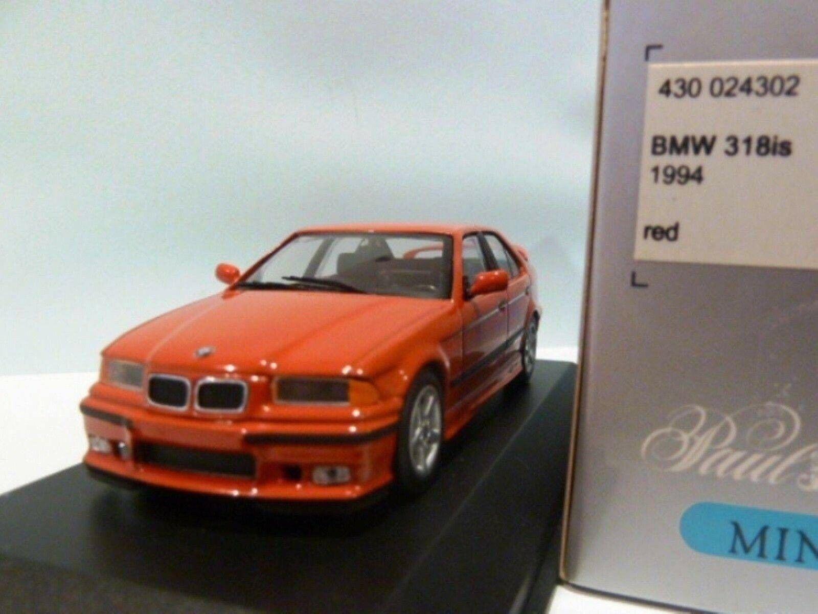 Wow extremadonnate raro BMW E36 1994 318iS rosso 1 43 Minichamps - 635 E21 323 M3 GTR