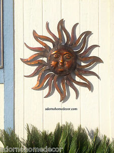 Image Is Loading Large Metal Sun Wall Decor Rustic Garden Art