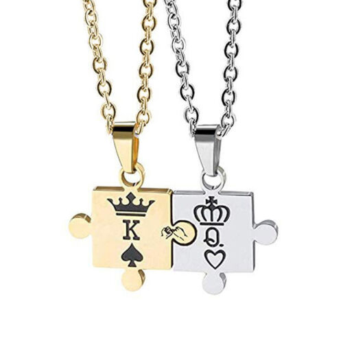 Stainless Steel His Queen Her King Couple Relationship Pendant Necklace QK