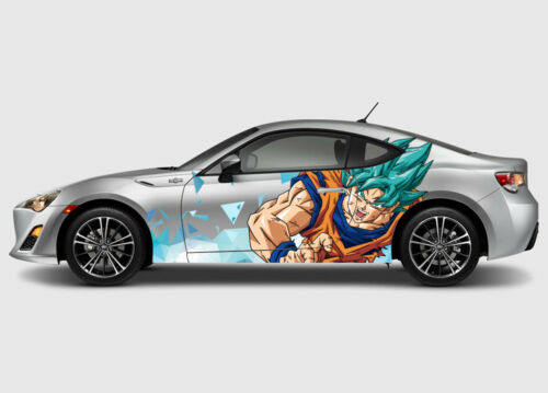 Super Saiyan Blue #2 Anime Car Side Wrap Color Vinyl Sticker Decal Fit Any Car