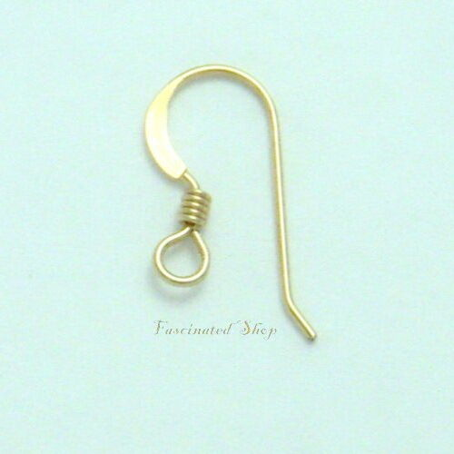 21 Gauge French Hook Ear Wire with coil Findings New 4pcs 14K Gold Filled 17mm