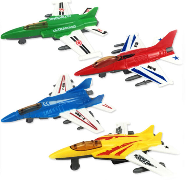 1pc Plastic Military Airplane Fighter Model Kids Simulation Plane Pull Back Toys