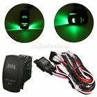 ATV/JEEP GREEN LED LIGHT BAR WIRING HARNESS 40A RELAY ON/OFF LASER ROCKER SWITCH
