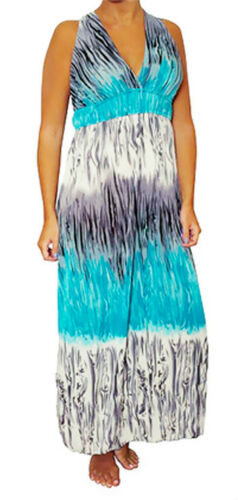 New Blue Multi-color Long MAXI Empire Waist Summer DRESS Beach Cocktail S M L XL