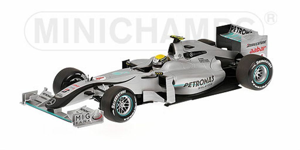 Minichamps 150 100074 Mercedes GP F1 Diecast Showcar 2010 Nico Rosberg 1 18th
