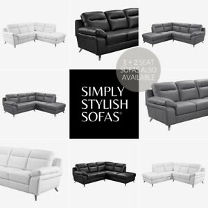wholesale dealer cef47 60536 Details about NUVOLA Modern Italian Inspired L Shaped Sofa 5 Seat Leather  Corner Sofa