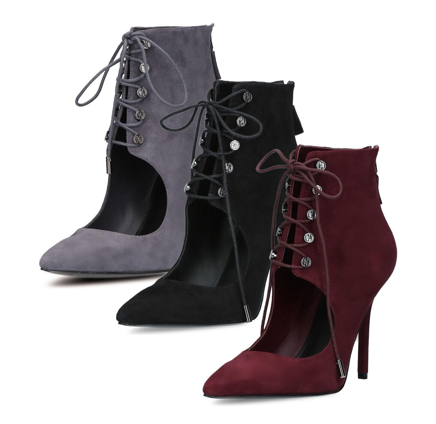 GUESS Damen Ankle Stiefel Stiefel Schuhe echt Leder leicht Stiefeletten