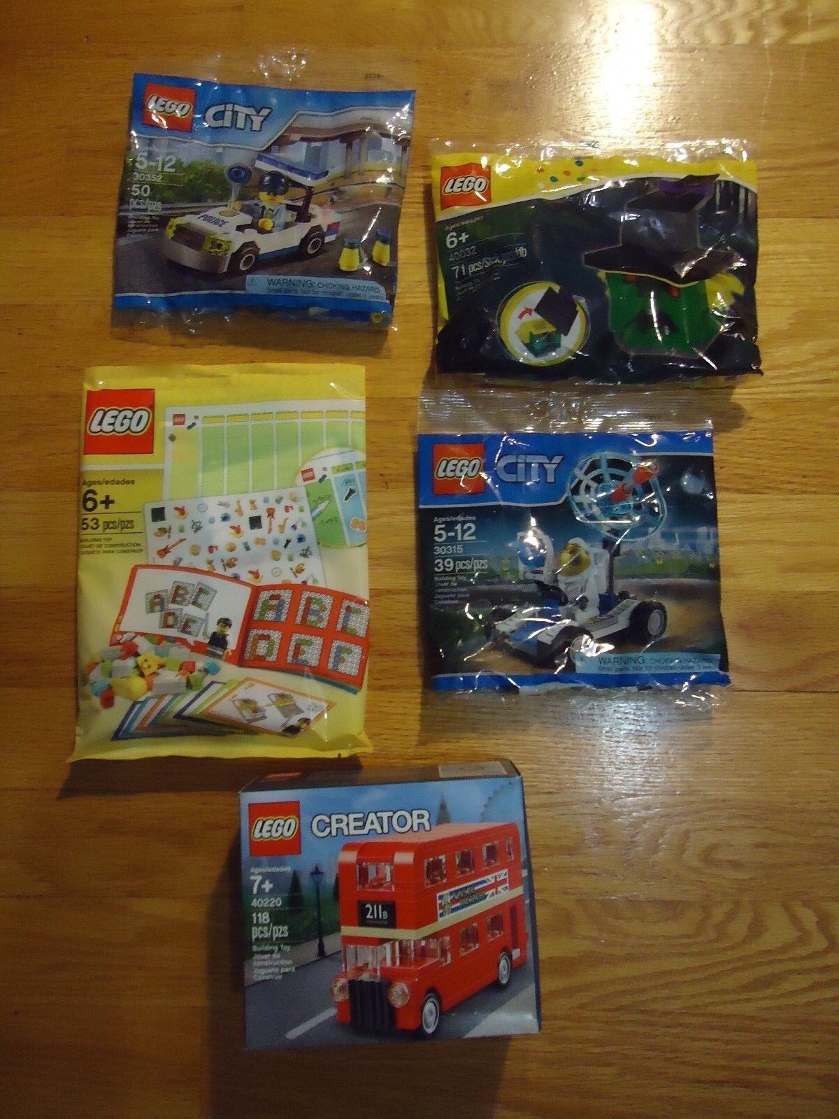 5 New Lego Sets 40291 Creative Story Book, 40220 London Bus, 30315, 40032, 30352