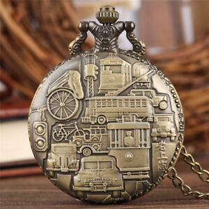 Antique-Christian-Batman-Battleship-Pocket-Quartz-Watch-Pendant-Necklace-Chain