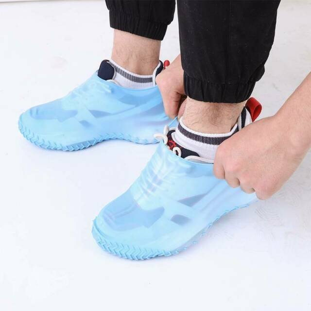 100X Blue Disposable Shoe Covers Anti Slip Plastic Cleaning Overshoes Security