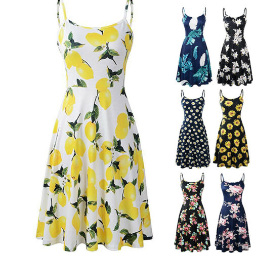 Vestito floreale da estivo maniche da donna senza donna da senza Vestito taglia 18 estivo spiaggia spalline 6 rrgfcnWHBq