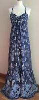 NAVY BLUE FAT FACE MAXI DRESS COTTON SIZE 10 PAISLEY